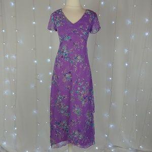 CDC Petites Purple Floral Layered Vintage Dress